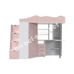 Детская кровать чердак Binky 37A розовый