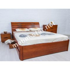 Двуспальная кровать Марита Люкс с ящиками бук