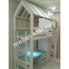 Двухъярусная кровать чердак Марк со шкафом и столом