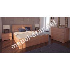 Односпальная, двуспальная кровать с механизмом Марсель ясень