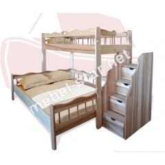 Двухъярусная трехместная кровать Ковчег ясень
