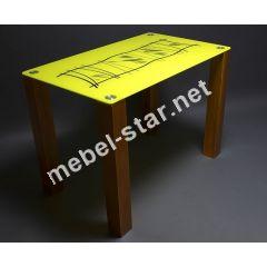 Стеклянный стол на кухню Бамбук