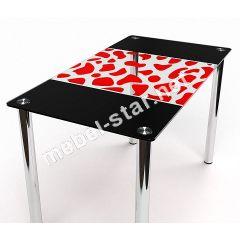 Стеклянный стол на кухню Долматинец