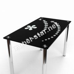 Стол со стеклянной столешницей Цветочный салют