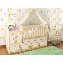 Детская кровать трансформер Мишка с букетом