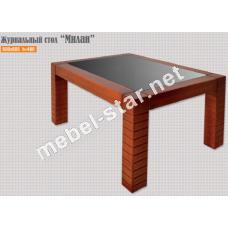 журнальный столик из дерева и стекла Милан